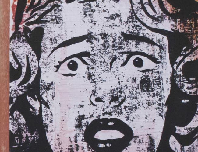 "27. Mary II // Biafra Inc. // screenprint, paint on wood - 2015 // 5"" x 5"" [$100]"