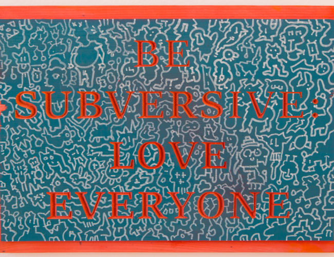 """10. """"Be Subversive"""" by Repo, Wood/stain/paint, 14.5"""" x 10"""" // 2016, $90"""