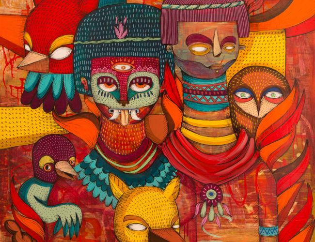 "20. ""Nahual Night"" by Rodrigo Oñate, Acrylic & Ink on Wood Panel, 4' x 4' // 2016, $2,100"