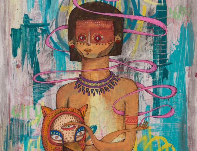 "3. ""Nahual"" by Rodrigo Oñate, Acrylic & Ink on Canvas, 24"" x 30"" // 2016, $520"