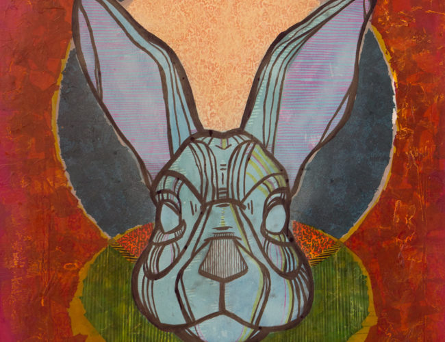 """32. """"Rabbit in the Moon"""" by Repo, Mixed Media, 36"""" x 40"""" // 2016, $580"""