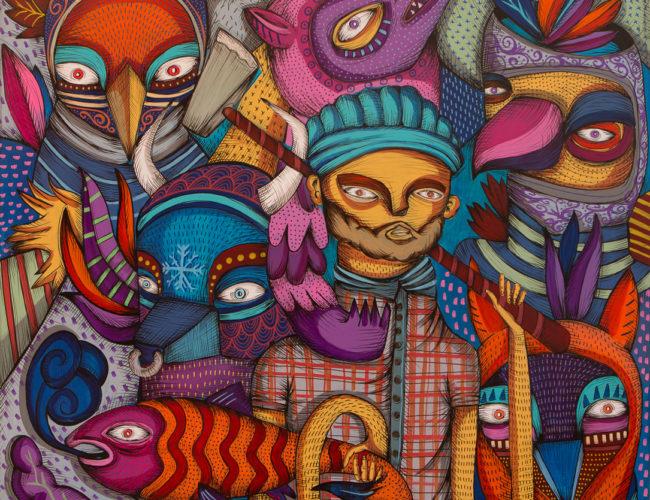 "33. ""Paul n Babe"" by Rodrigo Oñate, Acrylic & Ink on Wood Panel, 4' x 4' // 2016, $2,600"