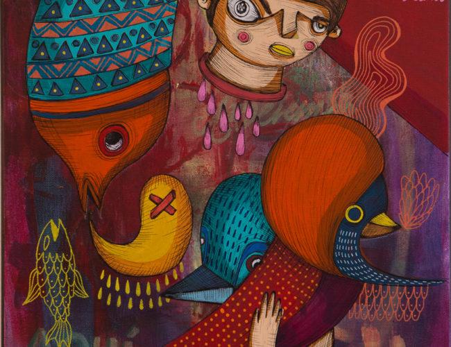 "38. ""Mutación"" by Rodrigo Oñate, Acrylic and Ink, 16"" x 20"" // 2016, $280"