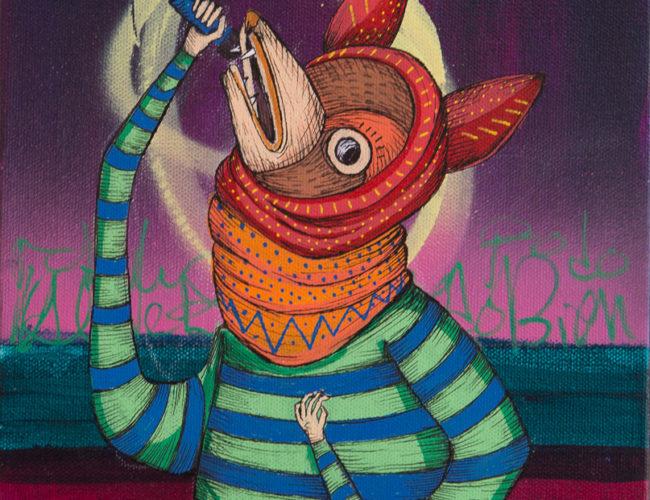 """43. """"Los Musicos #4"""" by Rodrigo Oñate, Acrylic and Ink, 9"""" x 12"""" // 2016, $180"""