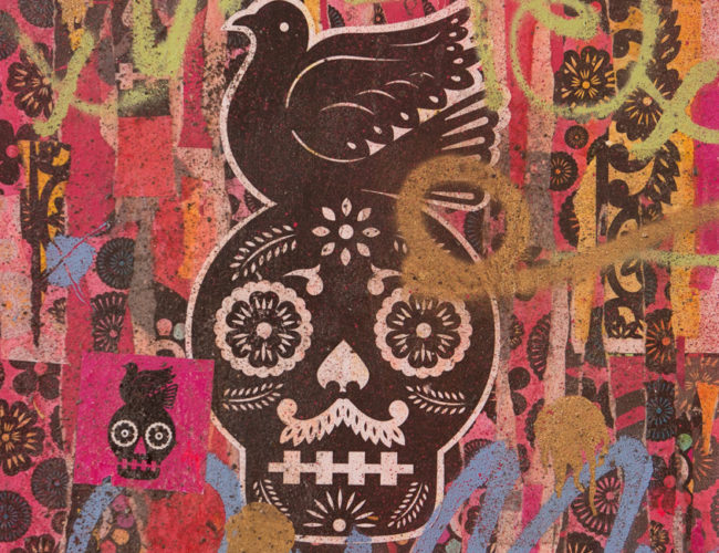 """8. """"Paz o Muerte"""" by Luis Fitch, Mixed Media on Canvas, 22"""" x 28"""" // 2016, $220"""